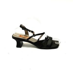 Vintage 90s black satin strappy witchy goth heels